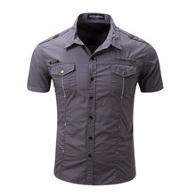 2018 New Trendy Men Shirts Short Sleeved Cotton Casual Military Out door Shirts For Men Plus Size XXXL(China)