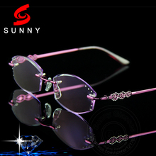 Excellent Quality Women Rimless Glasses Reading For Female Eyeglasses Rhinestone Readers Anti Reflective Lenses Presbyopic 054(China)