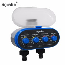 Home Ball Valve Electronic Two Outlet Four Dials  Water Timer Garden Irrigation Controller for Garden, Yard #21032