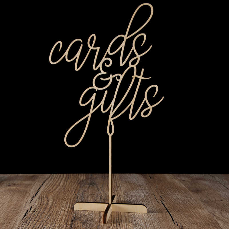 Cards and Gifts Guestbook Favors Table Sign Freestanding Calligraphy Wedding Table decoration Signs Custom wood Party Decor