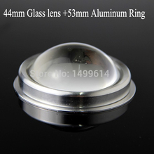 LED 44mm Glass convex optical Lens +53mm Aluminum ring set series 60 Degree for High power 20W LED spot light lenses