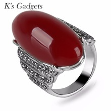 Top Quality Red Garnet Ring Natural Big Stone Long Rings For Women Vintage Retro Black Crystal Rhinestone Wedding Jewelry