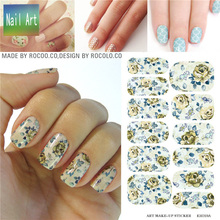 full Nail WRAPS Art Sticker Water Transfer False Nails Foil decals Manicure Decor Tools Cover design vintage roseo flower