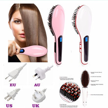 2017 Brand LCD Straightening irons Fast Smoothing hair Brush Electric Magic Straightener professional comb Hair Styling Tools(China)