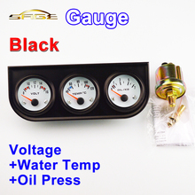 52mm Car Guage Voltage / Water Temperature / Oil Press Gauges Black Holder Meter 3-In-1 Kit Triple Dashboard