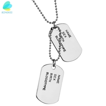 BONISKISS Free Engrave Military Army Name ID Tag Pendant with Chain Name Sex Birth Bloodtype Tag (Pair)(China)