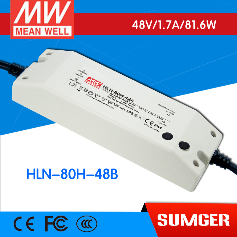 1MEAN WELL original HLN-80H-48B 48V 1.7A meanwell HLN-80H 48V 81.6W Single Output LED Driver Power Supply B type<br>