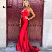 Buy Sexy Flower Appliques Mermaid Party Maxi Dress Backless Deep V Neck Strapless Hollow Shiny Red Dress Floor Length Club Dress for $41.76 in AliExpress store