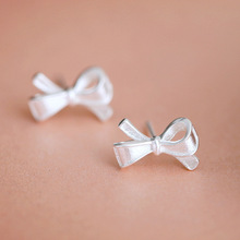 Bowknot Stud Earrings Sterling Silver S925 Female Tremella Japan Korea Sweet Temperament Fashion Personality Trendy(China)