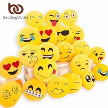 BeddingOutlet Cute Emoji Cushion Home Smiley Face Pillow Stuffed Toy Soft Plush For Sofa Car Seat 32cmx32cm Best Sell(China)