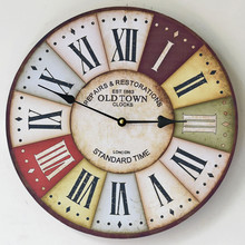 Best Sale New 30CM Wooden Round Wall Clock Vintage  FAMILY FIRST Wall Watch Europe Style Electric Clocks