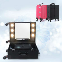 2017 New Lighted Makeup Case with Mirror station Trolley Cosmetic Box Professional