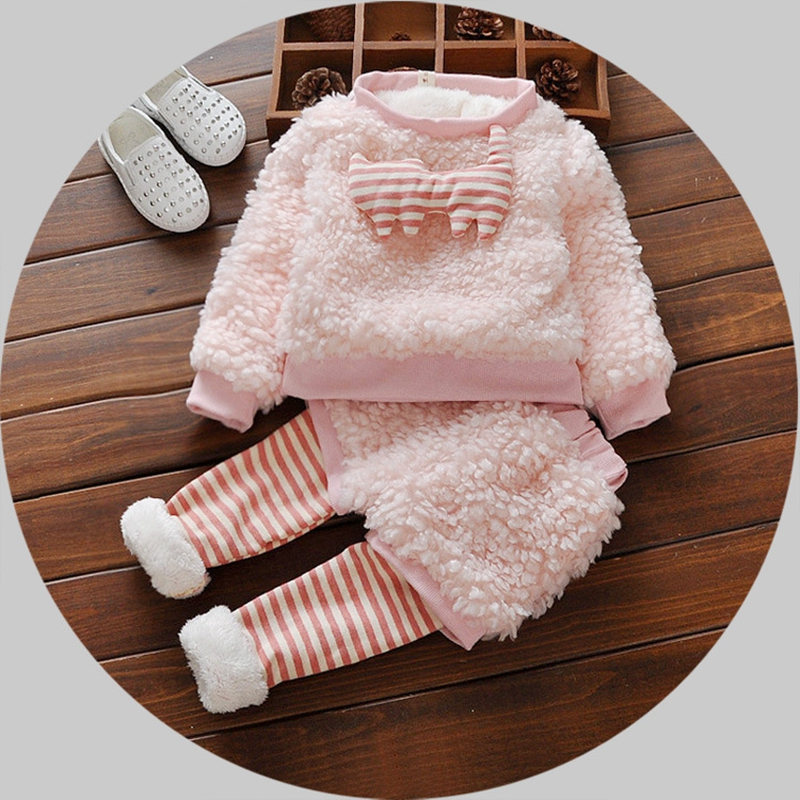 Toddler Clothes Autumn Winter Thicken Pure Cotton Long Sleeve and Pants Pink Lovely Princess O-neck Pullover Sets<br><br>Aliexpress