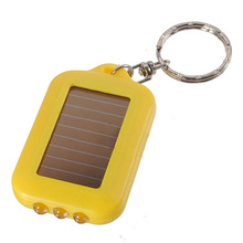 10X Mini Solar Power Rechargeable 3LED Flashlight Keychain Light Torch Ring New
