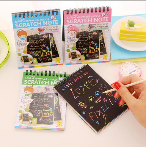 Boys & Girls DIY Scratch Paper Notes set with Pen/Funny blank SCRATCH NOTE /Sketch notebook / school supplier (A Style)(China)