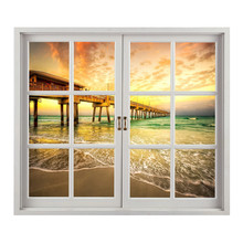 58x66.5 cm 3D Vivid Ocean Beach Bridge Window Wall Sticker Bed Room Wall Decals Room Decor Vinyl Art Removable Closer to Nature(China)