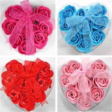 Heart-Shaped Box Soap Flowers Rose 5 kinds Sweet Smell Romantic Wedding Party Gift Artificial Flower Decor Health Care Tool