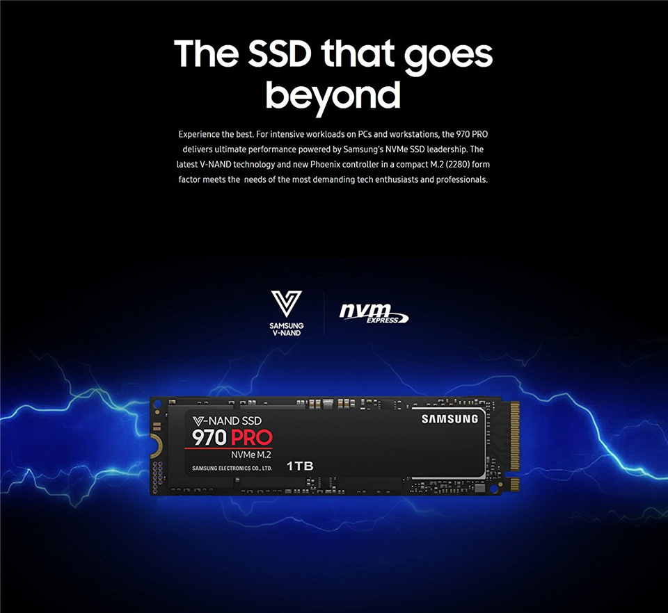 Samsung 970 PRO MZ-V7P1T0E 1TB PCIe m.2 Internal Solid State Drive