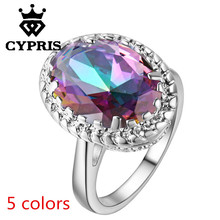 2017 Lose money sale Wholesale Price ring Hot  Promotion silver Fashion Ring Oval enagement wedding Anniversary created gemstone