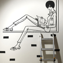 2015 New Arrival Girl Vinyl Decal Girl Reading Book Wall Sticker Mural Art Kid's Room Wall Decoration Blk Wall Sticker For Room