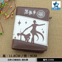 Japanese Anime Black Butler Chocolate PU Short Wallet Ciel & Sebastian Purse With Zipper