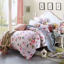 "Field flowers 100% cotton 4 Pccs 78""x90"" Duvet Doona Cover Set by flat sheet pillowcase/adults girls bedding set QUEEN(China)"