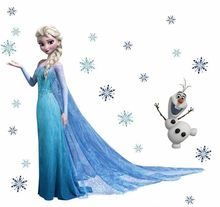 Elsa Snowflaks Olaf Wall Sticker Decals for Kids Child Nursery Mural(China)