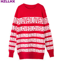HZLLHX women fall autumn wool blend sweater LOVED letters red white stripes lazy loose sweater knitted pullover ladies top