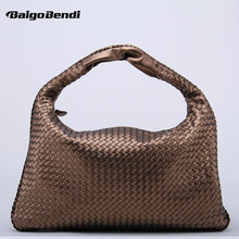 Brand New Celebrity Ladies Woven Leather Handbag Criss-Cross Hobo Dumplings Bag Women's Knitting Casual Tote(China)