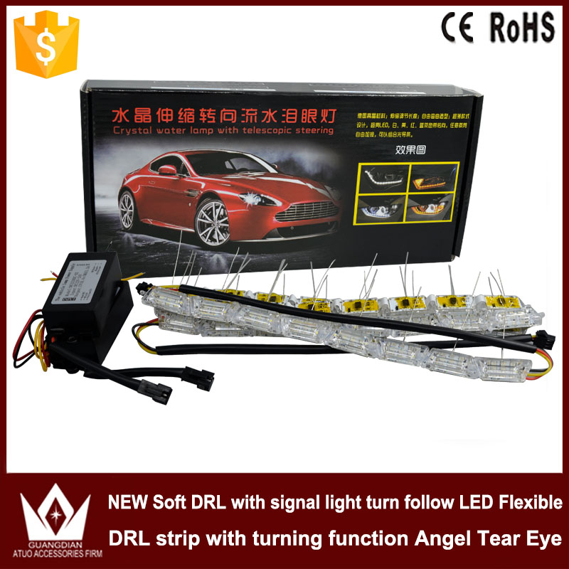 Tcart 2pcs 12V Car LED Daytime Running Light Turn Signal Light Flowing yellow steady yellow Crystal led bar DRL Car Styling<br>