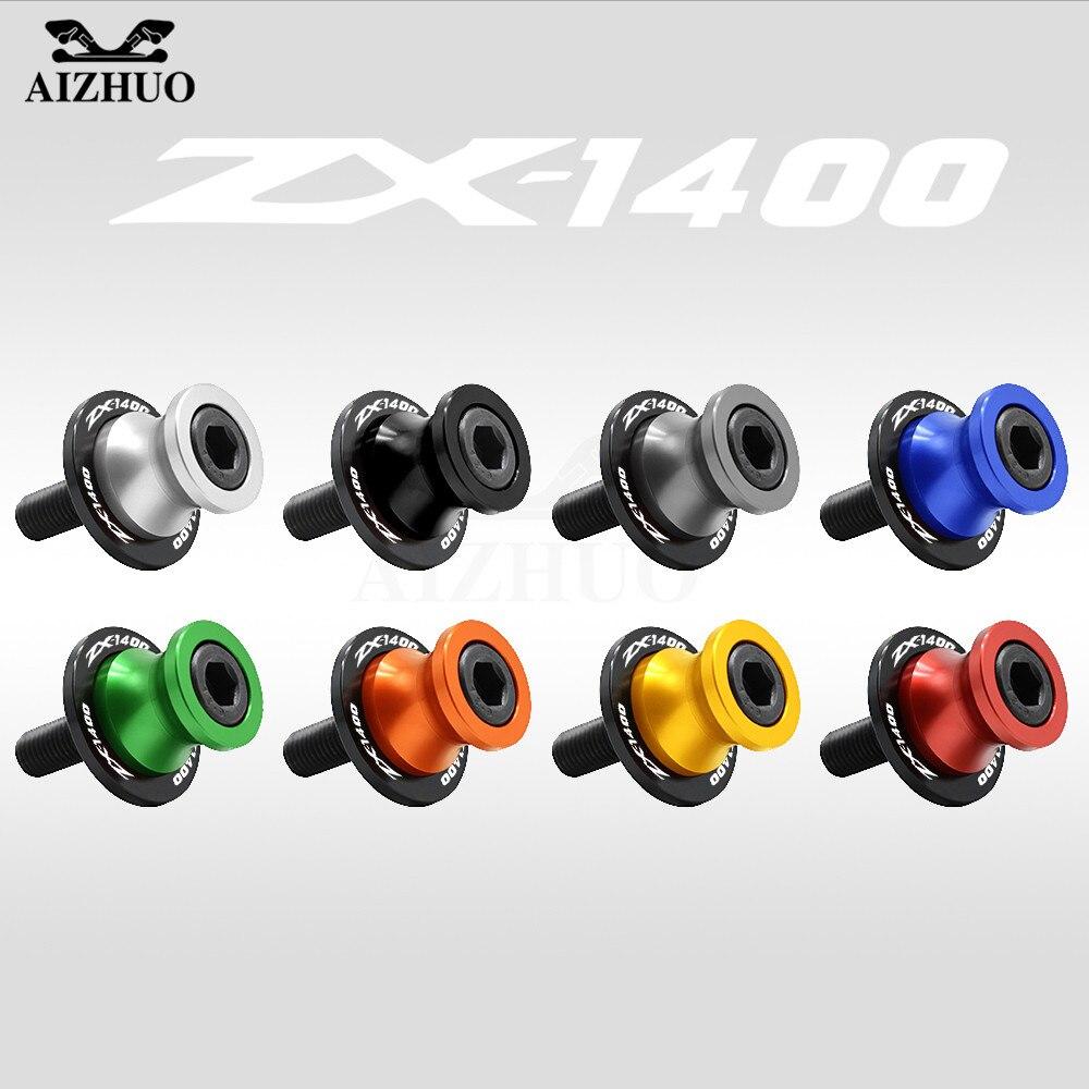 10MM Swingarm Sliders Spools Screws Stand LOGO For KAWASAKI Ninja ZX-14 zx-1400 ZX 1400 2006 2007 2008 2009 2010 2011