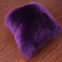 Purple Natural Sheepskin Pillow Cover Sheep Skin Fur Cushion Cover Decorative Throw Pillows Chair Pillowcase Lambskin Cushions(China)