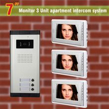 "Apartment Intercom System 7"" LCD apartment video door phone intercom system Video Intercom Door Bell video intercom 3 apartments"