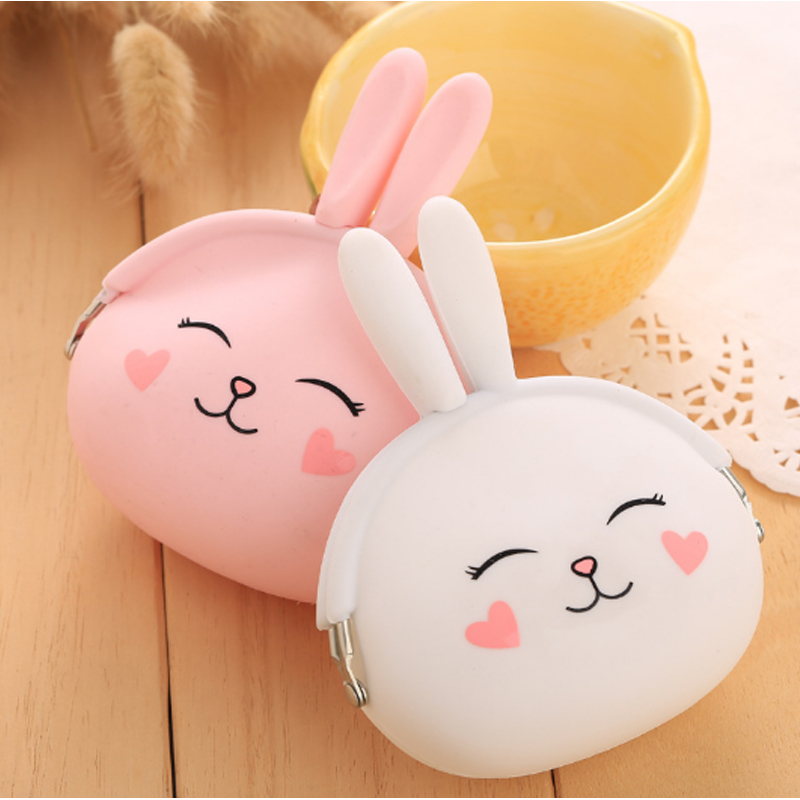 2017 New Fashion Coin Purse Lovely Kawaii Cartoon Rabbit Pouch Women Girls Small Wallet Soft Silicone Coin Bag Kid Gift<br><br>Aliexpress