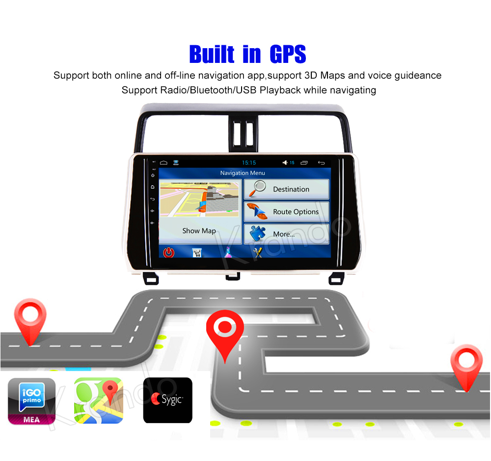 Krando Android car radio gps navigation multimedia system for toyota prado 2018