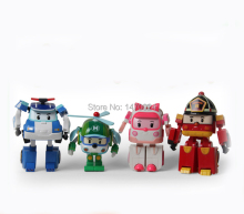 4pcs/Set robot Transform Toy Korea Robot Car Transformation Toys Best christmas Gifs For Kids toys(China)