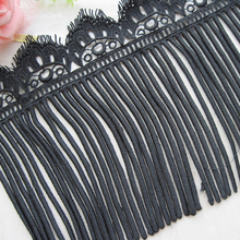 3 yards/lot Black And White Tassel Lace Fringe Trimming Embroidery Clothing Textiles Skirt Edge Clothing DIY 18 cm Wide(China)