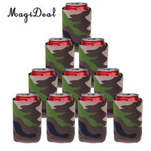 MagiDeal 10pcs/Lot Camouflage Beer Can Cooler Soda Beverage Sleeve Holder Wrap Hens Night Party Favors Gifts