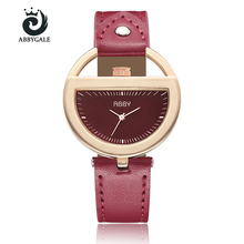 Unique Design Semi Circle Hollow Dial Creative Watch Womens Dress Hour Fashion Red Ladies Wristwatch Relogio Feminino Trending(China)