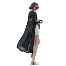 Korean Style Sunscreen Cardigan Shawl Long Sweater Coat Women Modal Chiffon Stitching Long Sleeve Sweaters Cardigan LM93