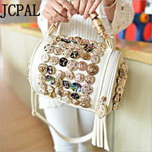 Female package 2016 new wave button package tassel cylinder package diamond button handbag shoulder Messenger bag