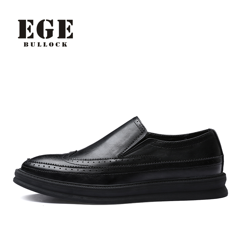 EGE Brand British Men Loafers Brown Fashion New Shoes High Quality Slip-On Handmade Genuine Leather Men Flats<br>