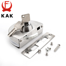 KAK Single Central Glass Door Lock Stainless Steel Bolt Locks Open Frameless Door Hasps For 10-12mm Glass Furniture Hardware