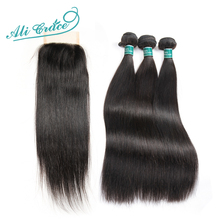 Ali Grace Hair Brazilian Straight Human Hair 3 Bundles Deal With 4*4 Lace Closure Free Part Natural Color Remy Hair(China)
