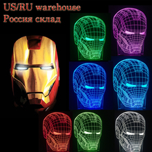 3D Iron Man Marvel Lava Night Light Desk Table Lamp RC Touch 7 Colour Modern Baby Bedroom sleep House Party Decoration Xmas Gift(China)