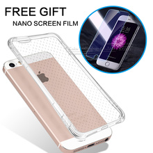 Clear Soft Air Cushion Shockproof Case + Nano Screen Protector Film for iPhone 6 6s 7 Plus 5 5s se 4 4s Protective Cases Cover(China)