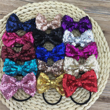 Sequin Bow Hairband 3inch Sequin Hair Ribbon Bows with Black Hair Band Hair Ties Bow Headband for Hair Accessories 15pcs/lot(China)