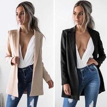Hirigin Hot Women Ladies Suit Coat Business Long Blazer Long Sleeve Black and Khaki Colors Formal Outwear(China)