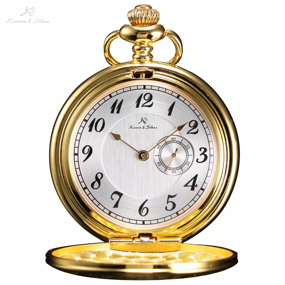Mens pocket watches with chain images mens gold pocket watches gifts - Ks Classic Watches Elegant Vintage Gold White Sub Second Dial Retro Pendant Classic Steel Chain Quartz Pocket Watch Gift Ksp053