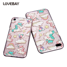 Lovebay Glitter Bling Powder Phone Case For iPhone 7 7 Plus 6 6s Plus 5 5s SE Cute Cartoon Rainbow Unicorn Soft TPU Phone Case